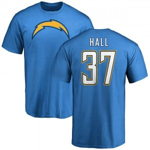 Kemon Hall Los Angeles Chargers Men's Blue by Name & Number T-Shirt -