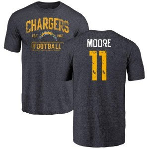 Jason Moore Los Angeles Chargers Men's Navy by Distressed Name & Number Tri-Blend T-Shirt -