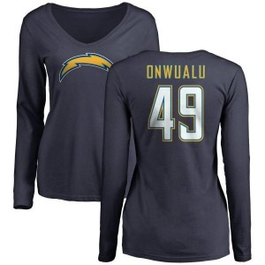 James Onwualu Los Angeles Chargers Women's Navy Branded Name & Number Slim Fit V-Neck Long Sleeve T-Shirt -