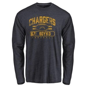Brett Boyko Los Angeles Chargers Men's Navy Pro Line by Branded Flanker Tri-Blend Long Sleeve T-Shirt -