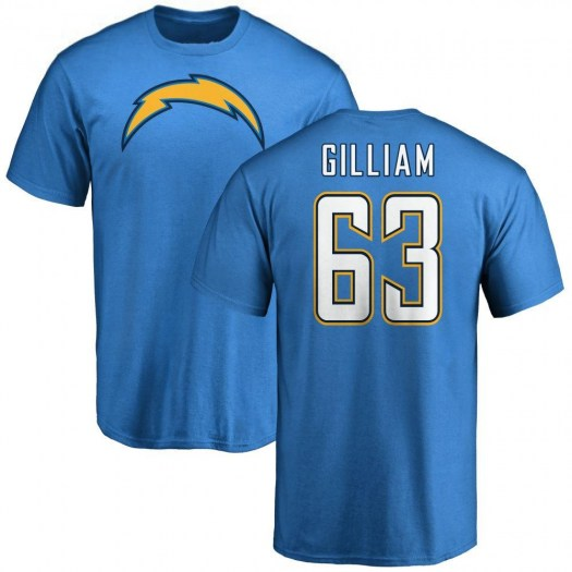 Nathan Gilliam Los Angeles Chargers Men's Blue by Name & Number T-Shirt -