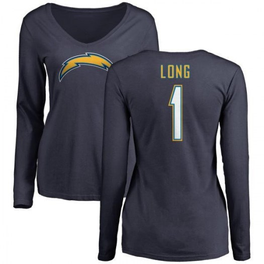 Ty Long Los Angeles Chargers Women's Navy Name & Number Slim Fit V-Neck Long Sleeve T-Shirt -