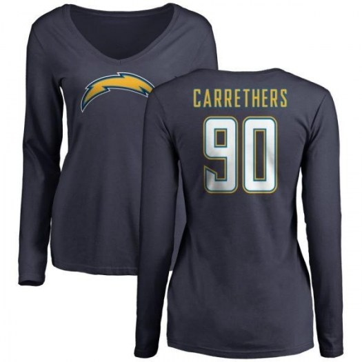 Ryan Carrethers Los Angeles Chargers Women's Navy Branded Name & Number Slim Fit V-Neck Long Sleeve T-Shirt -